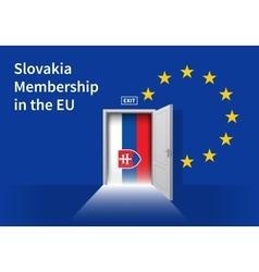 European Union flag wall with Slovakia flag door vector