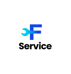 f letter wrench service logo icon vector image