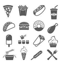 fast food icons set on white background vector image