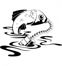 fish in gas mask vector image
