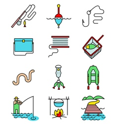 Fishing hobby line art thin and simply icons set vector image