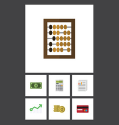 flat icon gain set of calculate growth payment vector image