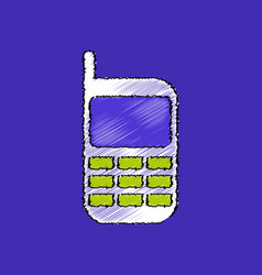Flat shading style icon cellphone silhouette vector