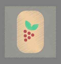 flat shading style icon grapes with leaf vector image