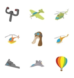 Flying device icons set cartoon style vector image
