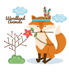 Fox woodland animal with feather crown vector