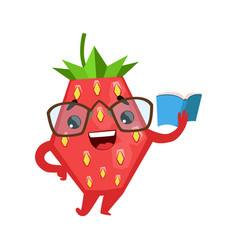 funny strawberry in eyeglasses reading book cute vector image