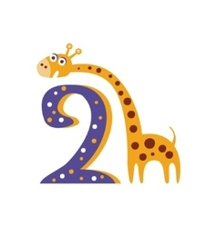 Giraffe Standing Next To Number Two Stylized Funky vector