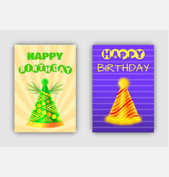 glowing happy birthday postcards with holiday hats vector image