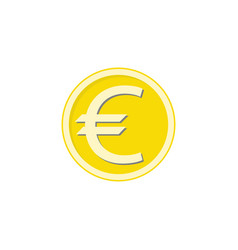 Gold euro coin flat icon finance and business vector