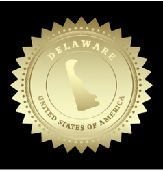 Gold star label Delaware vector