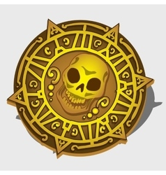 Golden pirate medallion with symbol of the skull vector