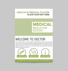 Green and white medical flyer layout template vector