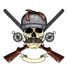 hand drawn hunter skull vector image