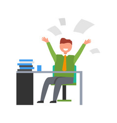 Happy businessman throwing up papers vector
