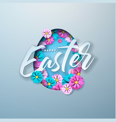 happy easter with colorful flower and vector image