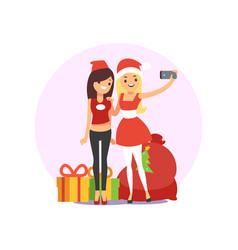 happy smiling young women friends taking selfie vector image