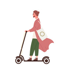 hipster guy riding on electric kick scooter vector image