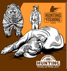 hunters and bear hunters club logo vector image