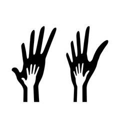 icon big hand and small hand in perspective vector image
