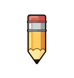 icon yellow pencil wooden and pink eraser vector image