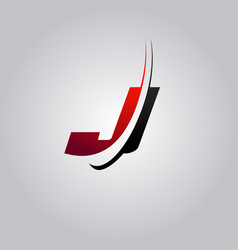 Initial j letter logo with swoosh colored red and vector