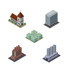 Isometric building set of industry office chapel vector