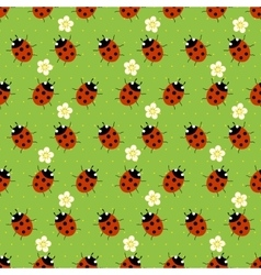 Ladybugs with flowers seamless patter vector
