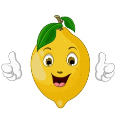 lemon cartoon thumbs up vector image