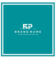 Letter fp mountain logo design vector