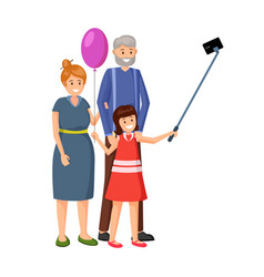 little girl with grandparents vector image