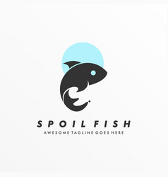 logo spoiled fish silhouette style vector image