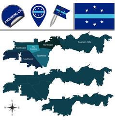 Map anaheim ca with neighborhoods vector