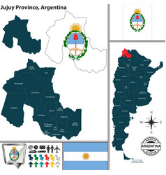 Map of jujuy province argentina vector
