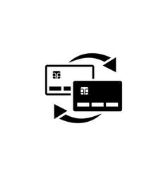 money transfer between plastic cards flat vector image