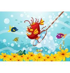 Monster fish in water vector