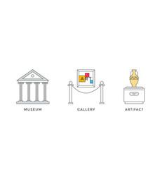 museum icons set design art gallery exhibition vector image
