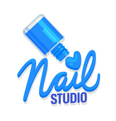 Nail studio icon or tag concept blue polish vector