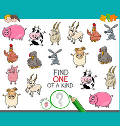 one a kind game with farm animal characters vector image