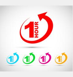 one hour arrow icon set vector image