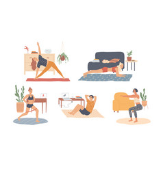 people at home are exercising workout training vector image
