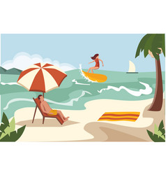 people spend their holidays on the beach under the vector image