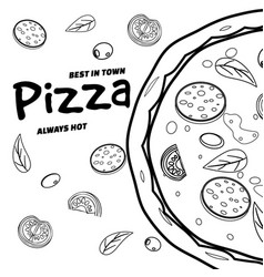 pizza food menu for restaurant and cafe design in vector image