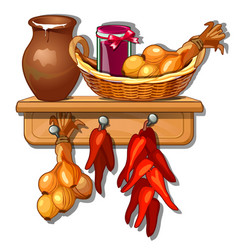 provision from onions jug of milk pepper and jam vector image