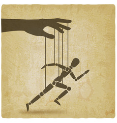 puppet marionette on ropes is running man vintage vector image