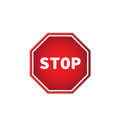 red stop sign isolated on white background with vector image