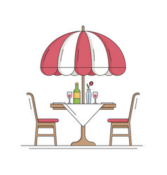 restaurant cafe thin line icon table and chair vector image
