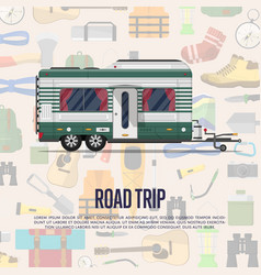 Road trip poster with camping trailer vector
