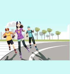 Rollerblading teenagers vector