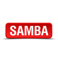 Samba red 3d square button isolated on white vector